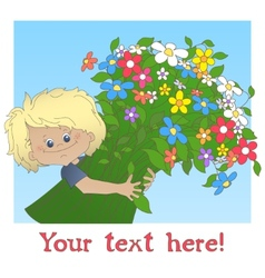 Boy with a big bouquet of flower vector