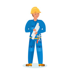 builder with tools and drawings in hand vector image