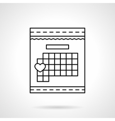 Calendar with heart sign flat line icon vector