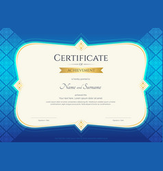 Certificate of achievement template thai art vector