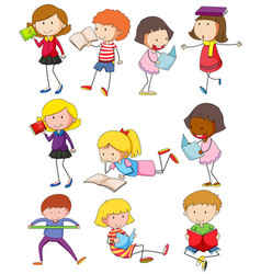 Different kids reading books vector