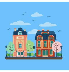 European City Urban Landscape with Vintage Houses vector image