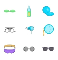 Eye exam icons set cartoon style vector