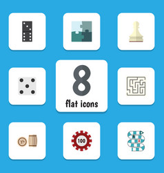 Flat icon games set of multiplayer bones game vector