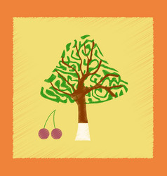 Flat shading style plant cerasus vector