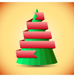 Geometric christmas tree with red ribbon vector image