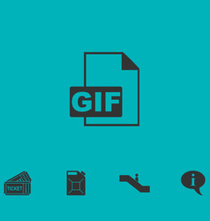 Gif format icon flat vector