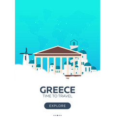 Greece time to travel travel poster flat vector