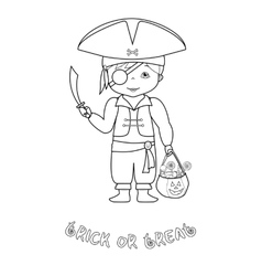 Halloween coloring page with cute pirate vector image