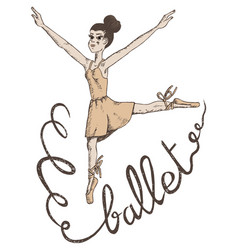 Hand drawn of a woman ballet dancer vector