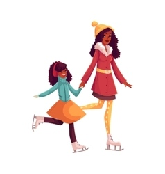 Happy black mother and daughter ice skating vector
