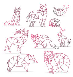 low poly color gradient line animals set origami vector image