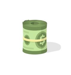Money roll 3d icon bankroll dollar bill vector image vector image