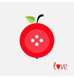 Red button apple with word love Flat design style vector image vector image