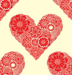 Red floral love heart pattern vector