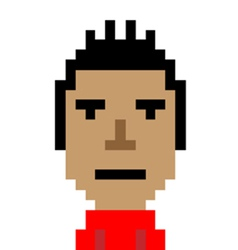 Red shirt man still emoticon pixel art character vector
