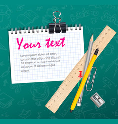 School background with notepad wooden ruler and vector