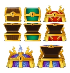 Set of wooden chests of different colors vector image vector image