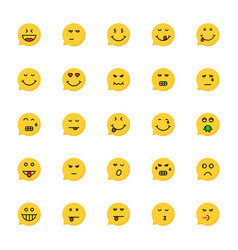 set of yellow emoji speech bubble vector image vector image