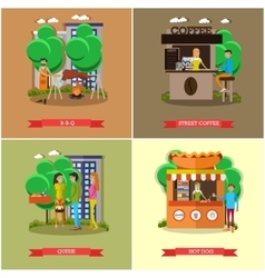 Street food concept posters people sell vector