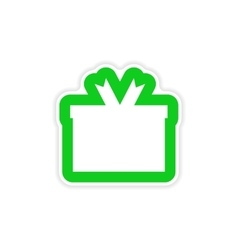 Stylish paper sticker on white background gift box vector