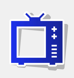 Tv sign new year bluish icon vector