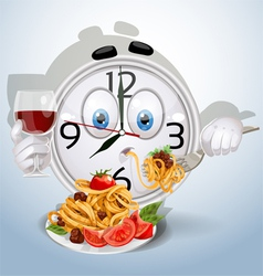 Watch smile dinner of spaghetti vector image vector image