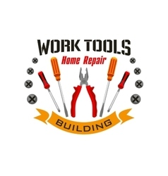 Work tools icons for home reapir emblem vector