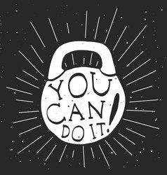 motivational banner with kettlebell vector image