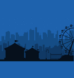 Collection of amusement park scenery silhouette vector