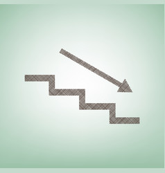 Stair down with arrow  brown flax icon on vector