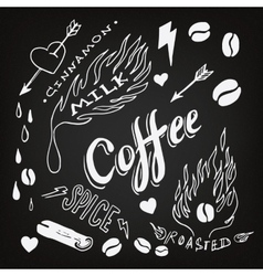 Set of hand drawn coffee theme elements vector