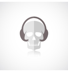 Skull with headphones icon vector