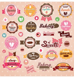 Collection of vintage retro ice cream and bakery vector