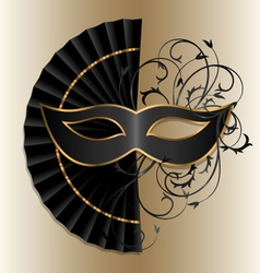 Elegant mask with fan vector