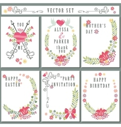 Retro card set with floral decorcute holiday vector