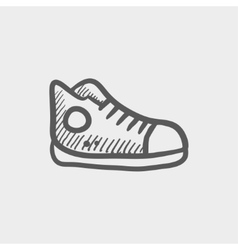 Hi-cut rubber shoes sketch icon vector