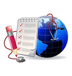 notepad and world vector image