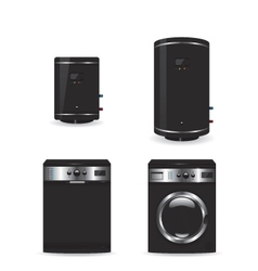 Set of black household appliances vector