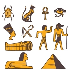 Egypt travel icons symbols vector