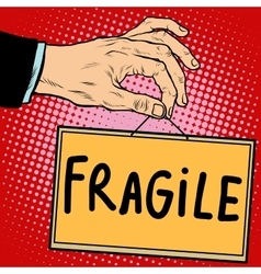 Hand sign fragile vector