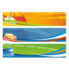 Set of contemporary transport banners vector