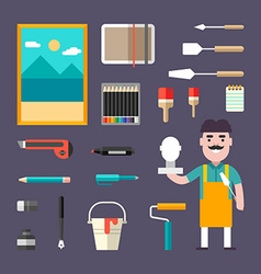 Painting tools and appliances male cartoon vector