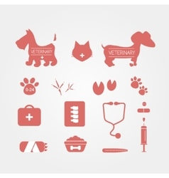 Veterinary icons set pets medicine emblems vector