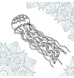 Coloring pages for adult jellyfish with ornament vector