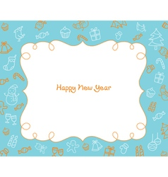 New year decoration outline icons border blue bac vector