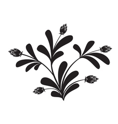 Black silhouette of floral element vector