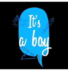 Baby shower boy inscription with doodle elements vector
