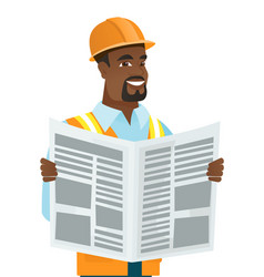 African-american builder reading newspaper vector