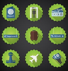 Airport Flight traveling Flat Icon Set Include vector image